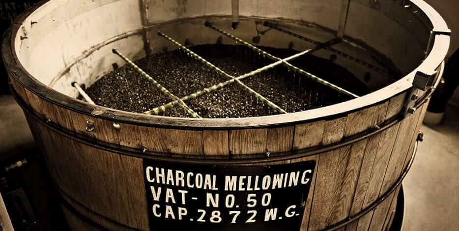 barrel with charcoal for charcoal mellowing whiskey