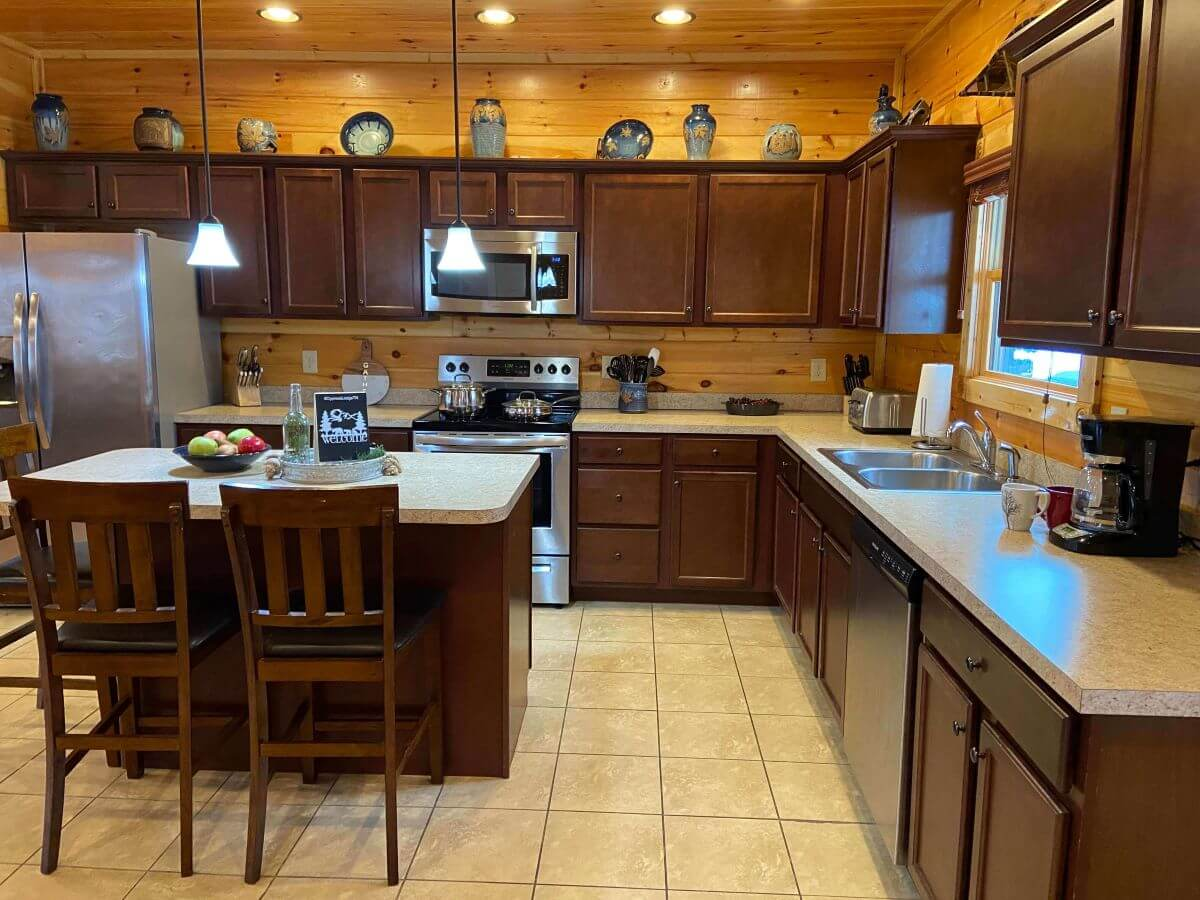 Kitchen in Cypress Lodge at Gatlinburg Falls Resort