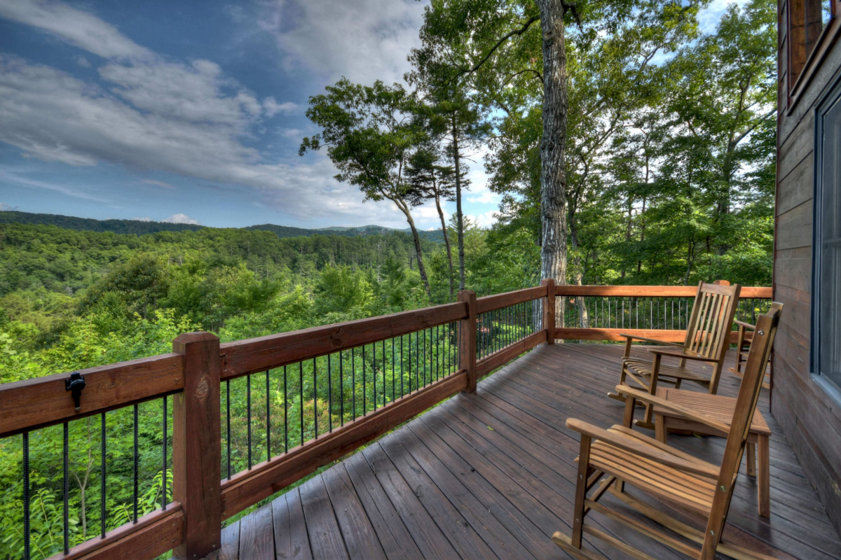 Rocking chairs on the deck overlooking the Blue Ridge mountains
