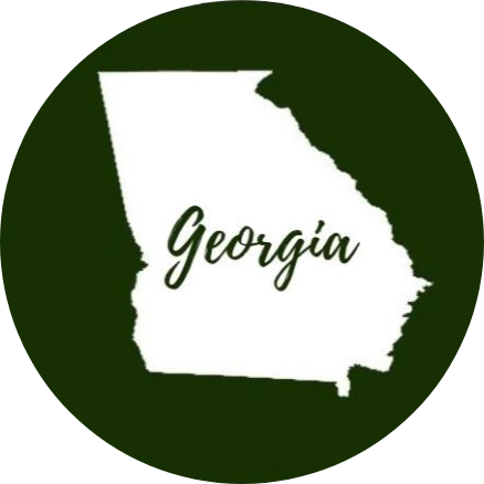 Green circle with the state of Georgia in the middle in white with Georgia written across it in green