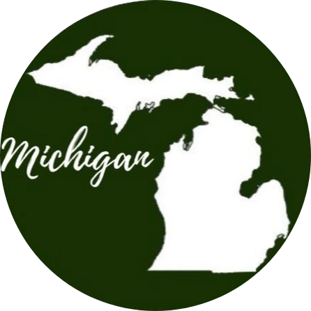 Green circle with the state of Michigan in the middle in white with Michigan written across it