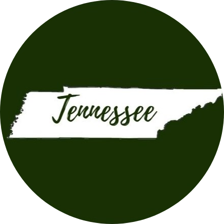 Green circle with the state of Tennessee in the middle in white with Tennessee written across it in green