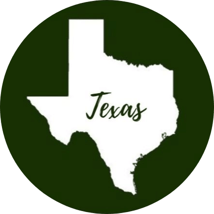 Green circle with the state of Texas in the middle in white with Texas written across it in green