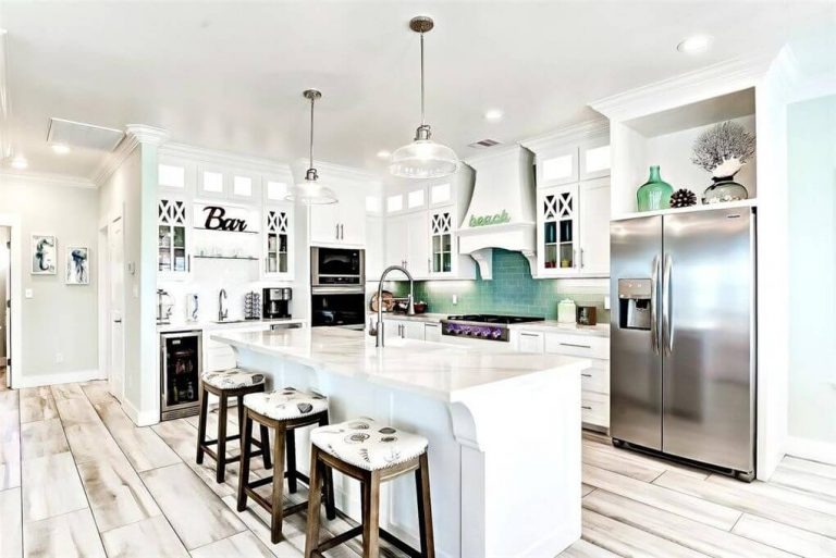 Picture of the gourmet kitchen in Breckie Beach House in Crystal Beach, TX